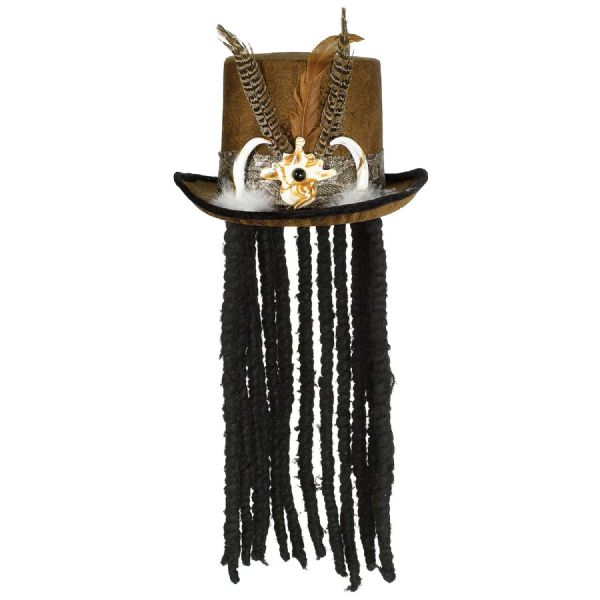 Adults Witch Doctor Hat & Dreads Halloween Fancy Dress Outfit Accessory